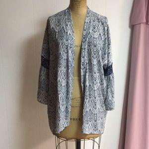 Paper Crane Bell Sleeve Open Front Kimono Cardigan